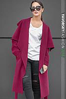 Пальто с большим отложным воротником цвет вишневый