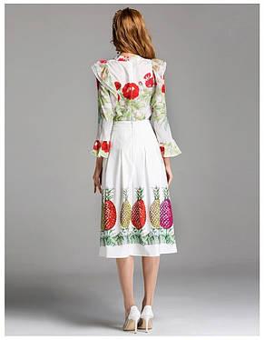 Женский костюм блузка креп шифон, юбка коттон, фото 2