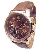 Часы женские наручные кварцевые с коричневым ремешком, коричневый циферблат