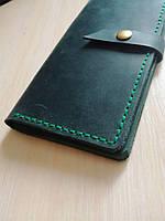 Кошелёк портмоне органайзер из натуральной кожи цвет зелёный
