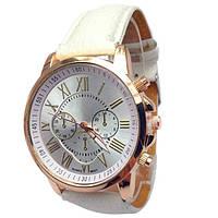 Часы женские наручные кварцевые с белым ремешком, белый циферблат
