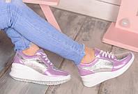 Кожаные кроссовки на танкетке, фото 1