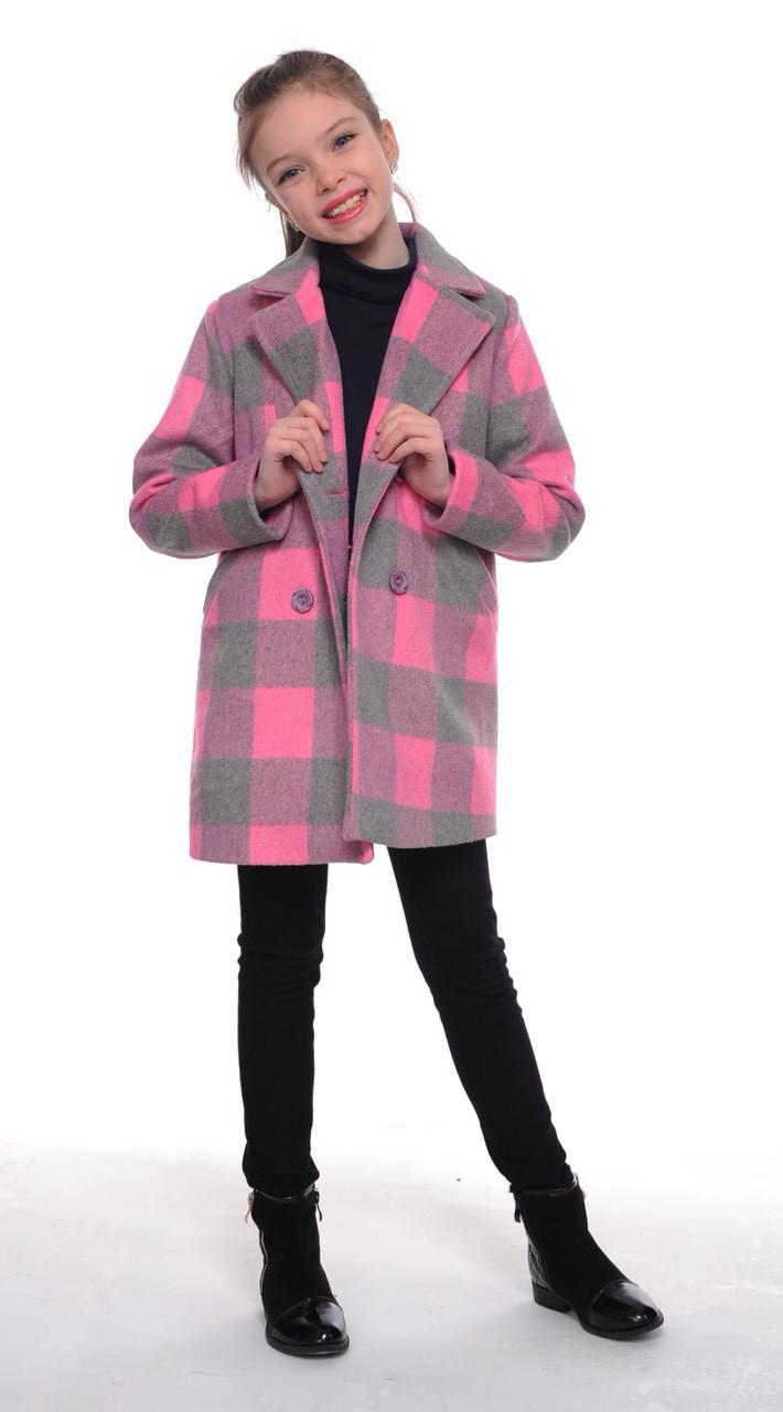 Детское демисезонное пальто для девочки в клетку, размеры 128-152