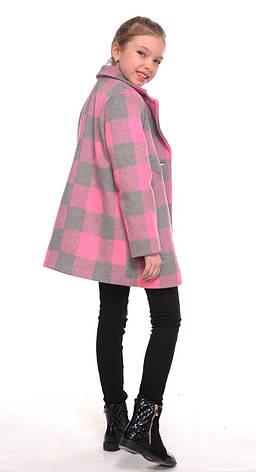Детское демисезонное пальто для девочки в клетку, размеры 128-152, фото 2