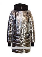 Детское демисезонное пальто для девочки серебро от Anernuo18131, размеры 130-170