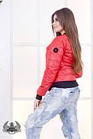 Куртка-бомбер Пчела ткань плотная плащевка 100 синтепон до 54 размера красная