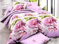 Постельный комплект бязь 3Д розы на розовом с белым зеленые листочки