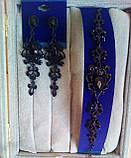 Комплект удлиненные вечерние серьги  с  черными камнями и браслет, высота 8,5 см. , фото 2