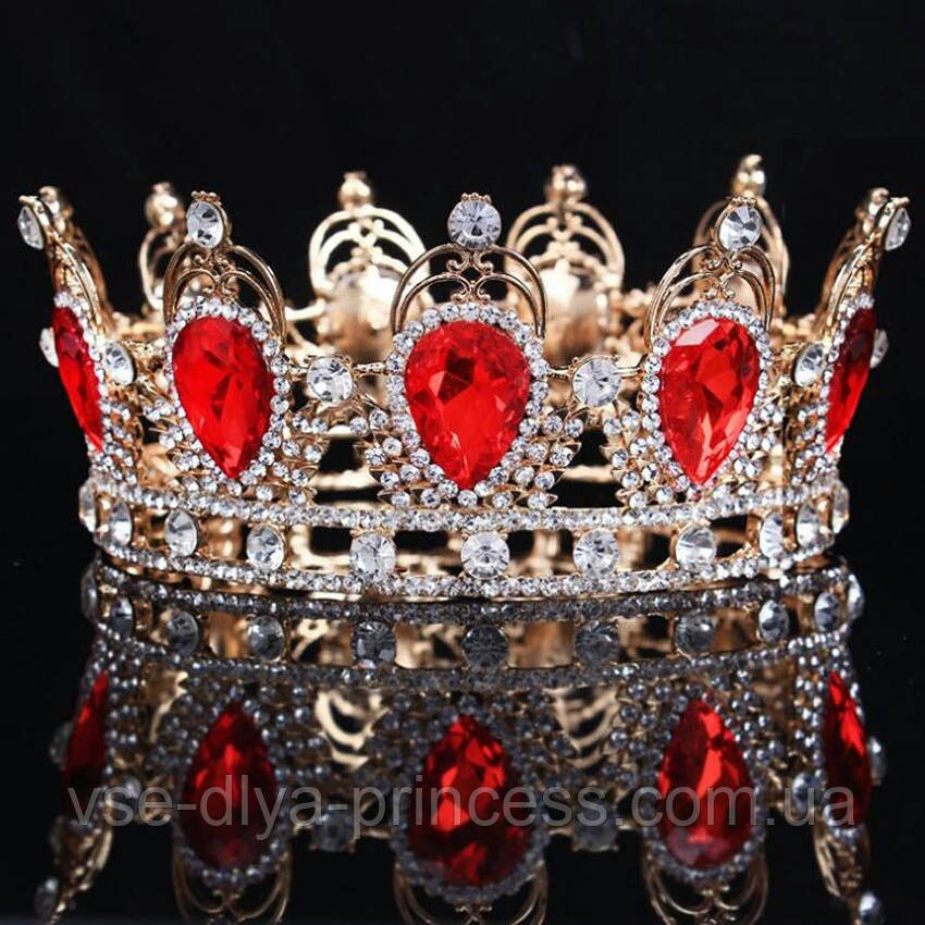 Кругла корона в золоті з червоними камінцями, діадема, тіара, висота 6 див.