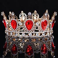 Круглая корона в золоте с красными камнями, диадема, тиара, высота 6 см.