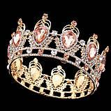 Кругла корона в золоті з червоними камінцями, діадема, тіара, висота 6 див., фото 2