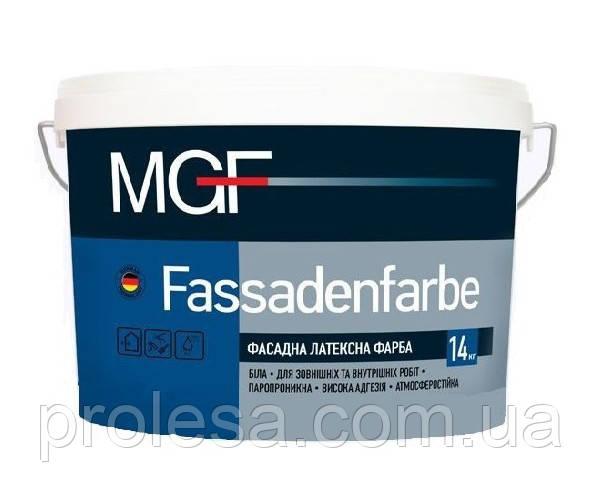 Краска фасадная латексная белая матовая MGF Fassadenfarb M-90 для наружных и внутренних работ (14кг)