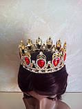 Кругла корона в золоті з червоними камінцями, діадема, тіара, висота 6 див., фото 3