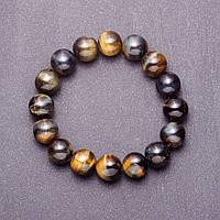 Браслет из натурального камня Соколиный глаз гладкий шарик d-12 мм (+-) на резинке обхват 18см