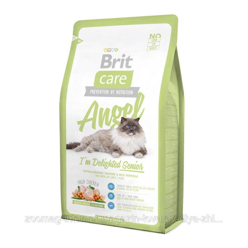 """Сухой корм Brit Care """"Angel I am Delighted Senior"""" 34/15 (с уткой и рисом для пожилых кошек) 0,4 кг"""