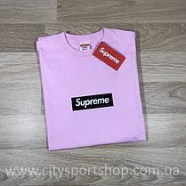 Футболка с принтом Supreme. Футболка розовая Унисекс | Качественная реплика, фото 3