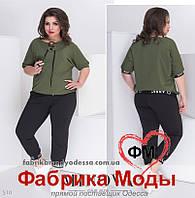 Костюм в спортивном стиле состоит из кофты с коротким рукавом и укороченных брюк ТМ Minova р. 50-58