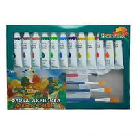 Набор акриловых красок «Peppy Pinto» 12 мл х12 цв + 4 кисточки + палитра