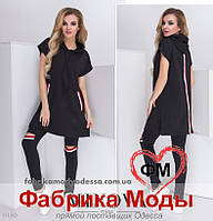 Костюм в спортивном стиле туника с карманами и лосины с прорезями на коленях ТМ Minova р. 42-48
