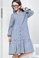 Платье с воланом внизу в мелкую клетку цвет синий с белым