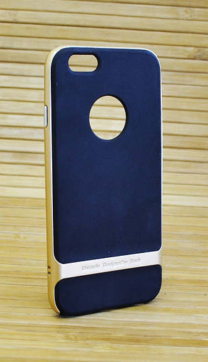 Силиконовый чехол на Айфон, iPhone 6 / 6s черный ROCK золотой ободок