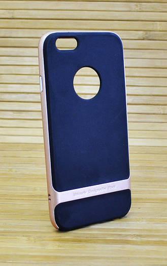 Силиконовый чехол на Айфон, iPhone 6 / 6s ROCK черный, розовый ободок