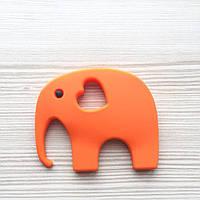 Слон с глазиком (оранжевый) силиконовый грызунок
