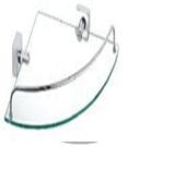Полка  стеклянная угловая 22*22*6см (хромированная сталь) Kamille 8817