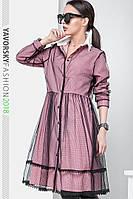 Платье из сетки стретч  размер 42 - 48 цвет розовый