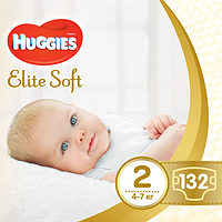 Подгузники Huggies Elite Soft Newborn 2 (4-7 кг) Giga Pack, 132 шт., фото 1