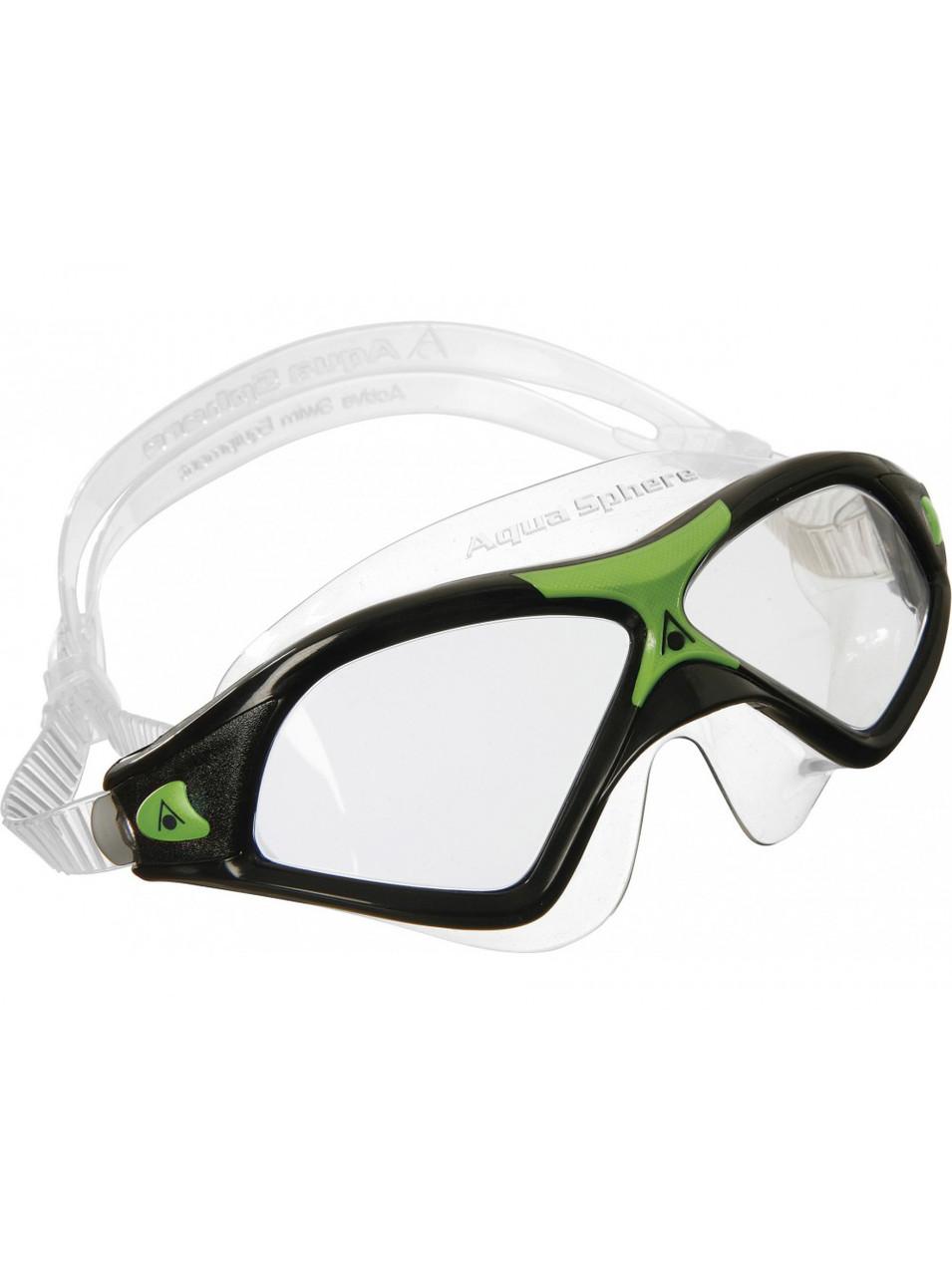 Очки-маска Aqua Sphere SEAL XP 2 (Чёрно-зелёный, линзы прозрачные)
