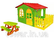 Детский домик MOCHTOYS ХХL с терасою + стол для пикника Польша