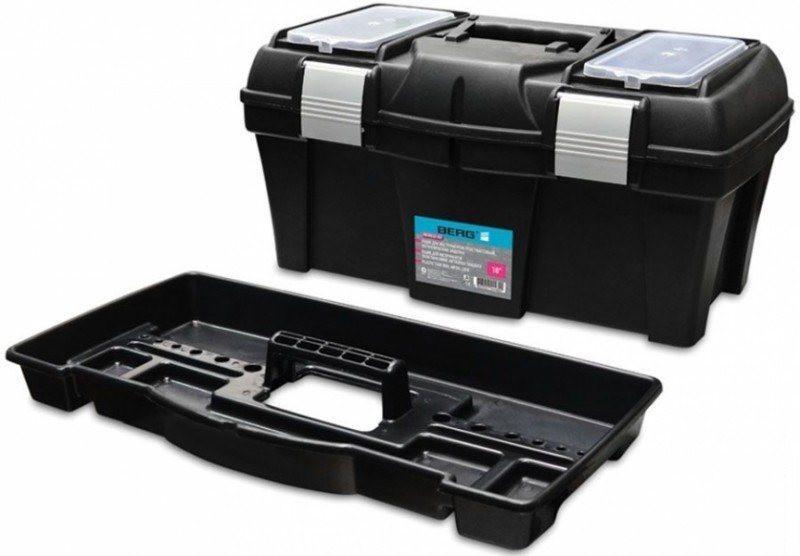 """Ящик для инструментов Berg пластмассовый 18"""", металлические застежки, 455х240х225 мм (52-557)"""
