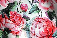Ткань супер софт, крупная роза, белый фон №2, фото 1
