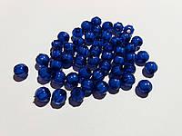 Бусины прозрачная с белым. Арбузик 0,8 см Набор 25 штук. Синие