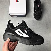 Мужские и женские кроссовки Fila Disruptor 2 All Black черные