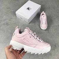 Женские кроссовки Fila Disruptor 2 Pink\White розовые (Реплика AAA+)