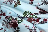 Ткань супер софт мелкие цветочки на голубом фоне №11, фото 1