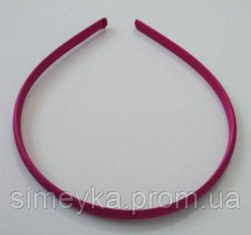 Обруч для волос пластиковый в атласе 8 мм.  Малиновый