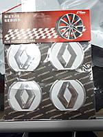 Наклейки на колпачки, заглушки, наклейки на диски 60 мм Renault Рено хром
