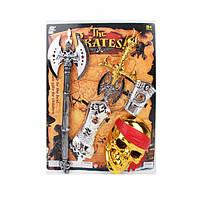 Набор пирата 1670-3 (18шт) маска, меч 58см, топор 56см, доспехи, на листе, 43-56,5-5,5см