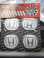 Наклейки на колпачки, заглушки, наклейки на диски 60 мм Honda (Хонда)  хром