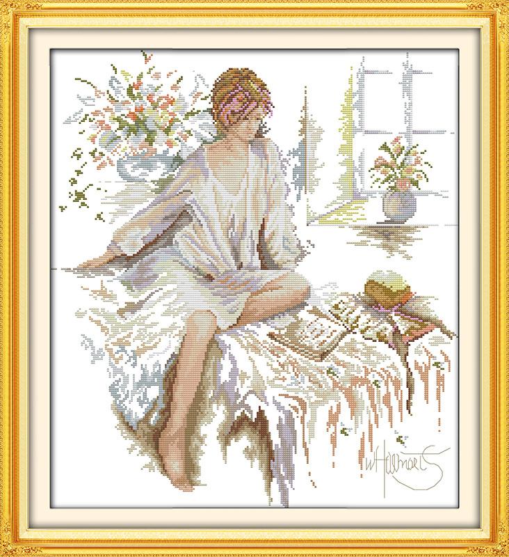 Девушка читает книгу R459 Набор для вышивки крестом с печатью на ткани 14ст