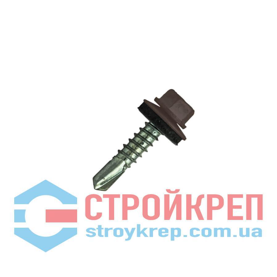 Саморез кровельный по металлу DIN 7504 K, окрашенный по RAL 8017 + EPDM (Китай), 4,8х25