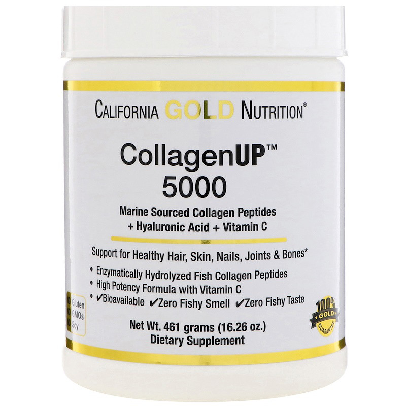Морской коллаген California Gold Nutrition, CGN, CollagenUP™ 5000,+ гиалуроновая кислота + витамин, 461 г