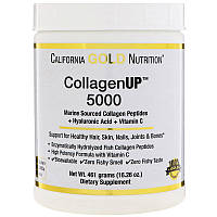 Морской коллаген California Gold Nutrition, CGN, CollagenUP™ 5000,+ гиалуроновая кислота + витамин, 461 г