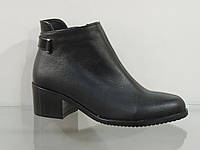Модные женские кожаные  ботиночки на не большем каблуке, фото 1