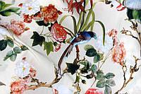Ткань супер софт, птички фон кремовый №4, фото 1