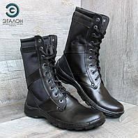 Ботинки берцы облегченные кожаные черные DMS-5 вставка кордура