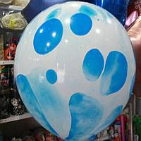 Мраморный шар 33 см Голубой с Гелием